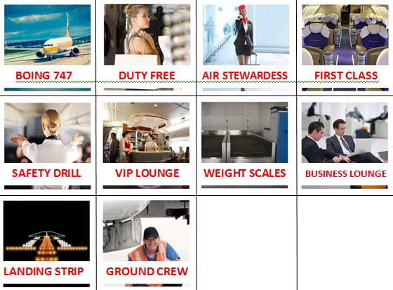100 Pics Airport Level 41-50 Answers
