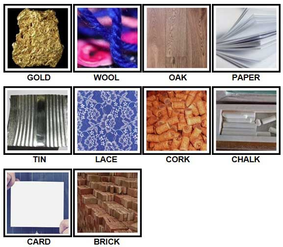 100 Pics Materials Answers Level 1-10