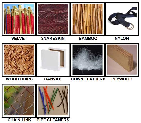 100 Pics Materials Level 31-40 Answers