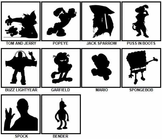 100 Pics Shadows Level 31-40 Answers   100 Pics Answers