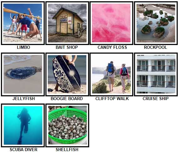 100 Pics The Seaside Level 71-80 Answers