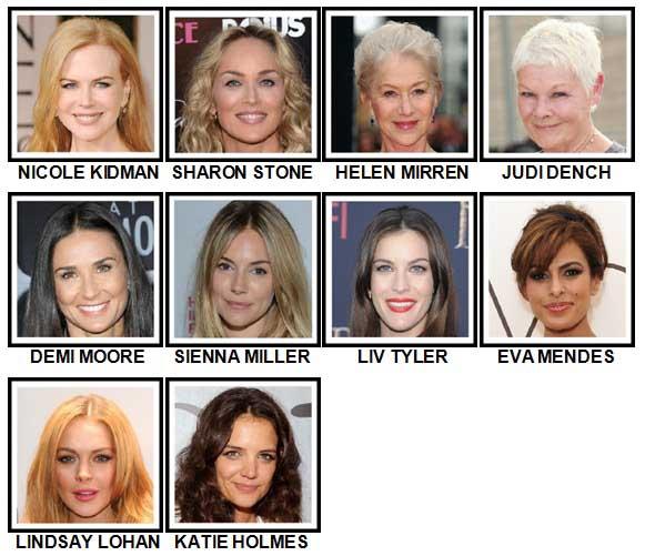 100 Pics Actresses Level 1-10 Answers