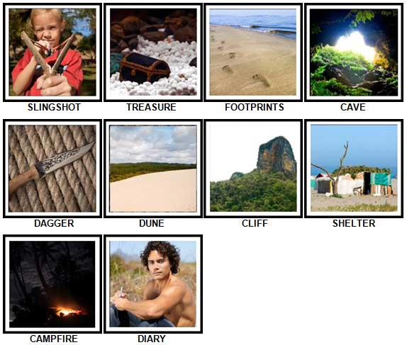100 Pics Desert Island Level 31-40 Answers