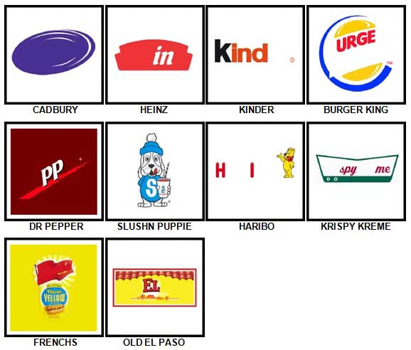 100 Pics Food Logos Level 11-20 Answers