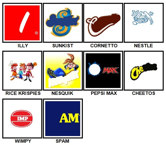 100 Pics Food Logos Level 21-30 Answers