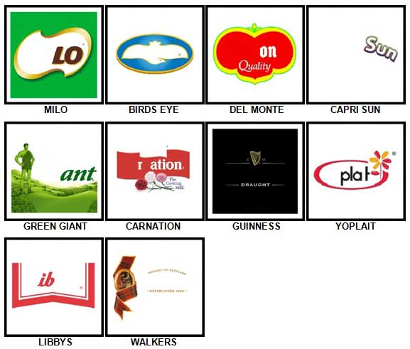 100 Pics Food Logos Level 41-50 Answers
