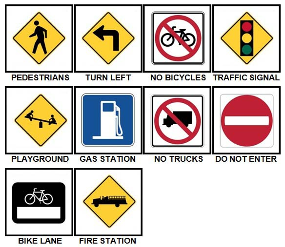 100 Pics Road Signs Level 11-20 Answers