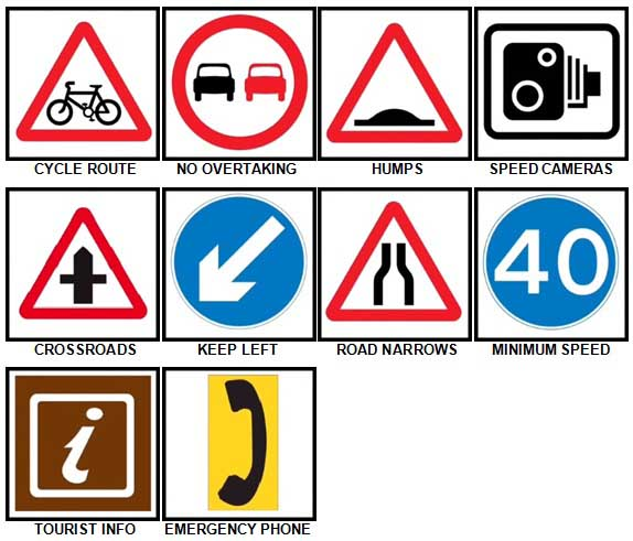 100 Pics Road Signs Level 21-30 Answers