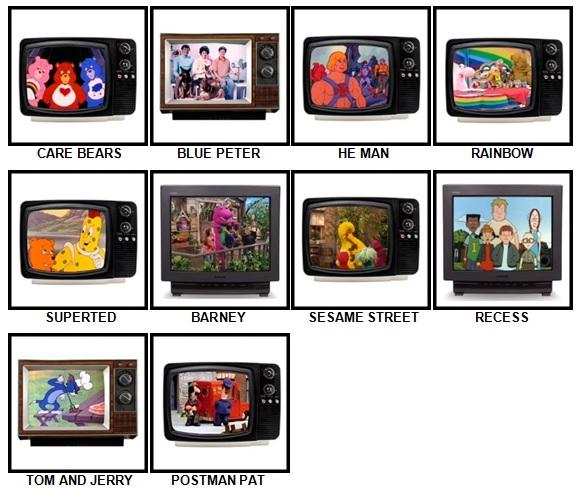 100 Pics Kids TV Classics Answers Level 1-10