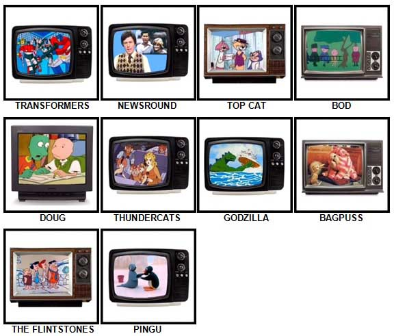 100 Pics Kids TV Classics Answers Level 11-20