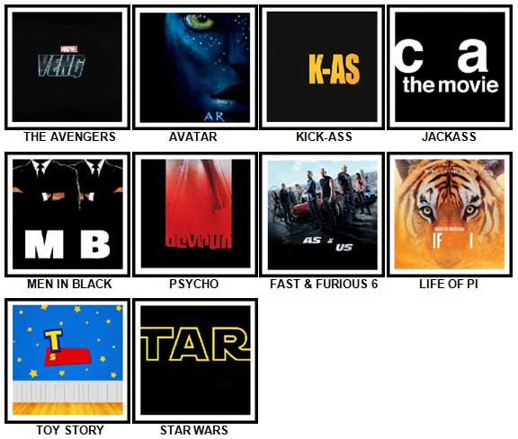 100 Pics Movie Logos Answers 31-40