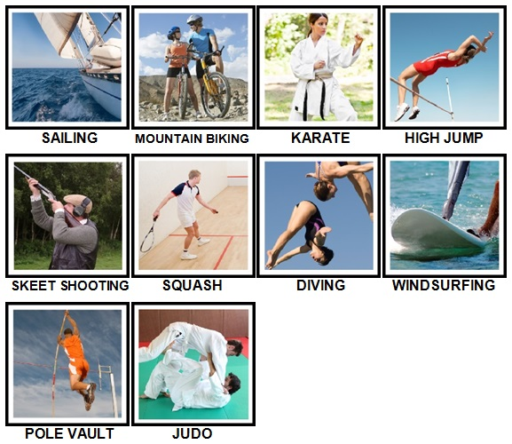 100 Pics Sports Level 21-30 Answers