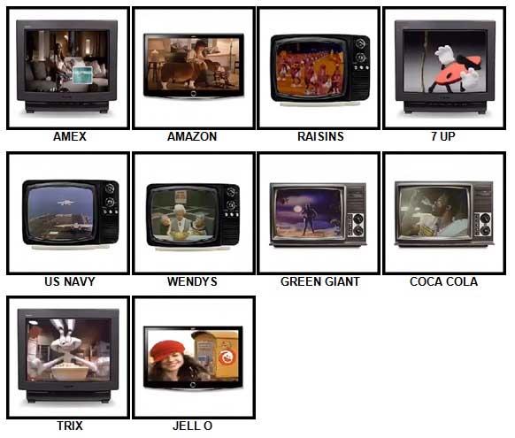 100 Pics TV Commercials Level 11-20 Answers