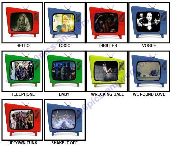100 Pics Music Videos Answers 1-10