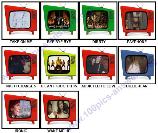 100 Pics Music Videos Answers 21-30