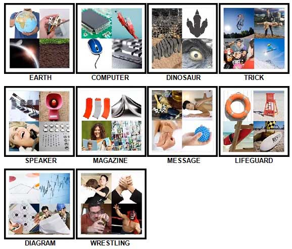 100 Pics Four Pics Level 51-60 Answers