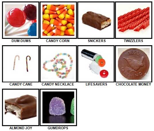 100 Pics Candy Answers 1-10