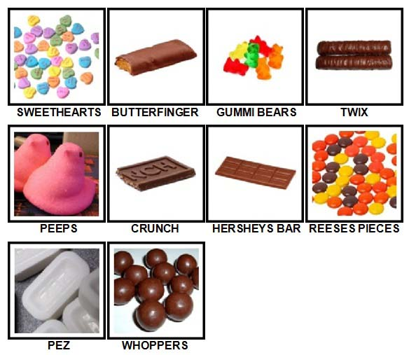 100 Pics Candy Level 21-30 Answers