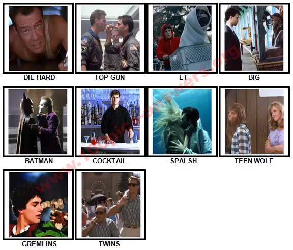 100 Pics 80s Films Answers 1-10