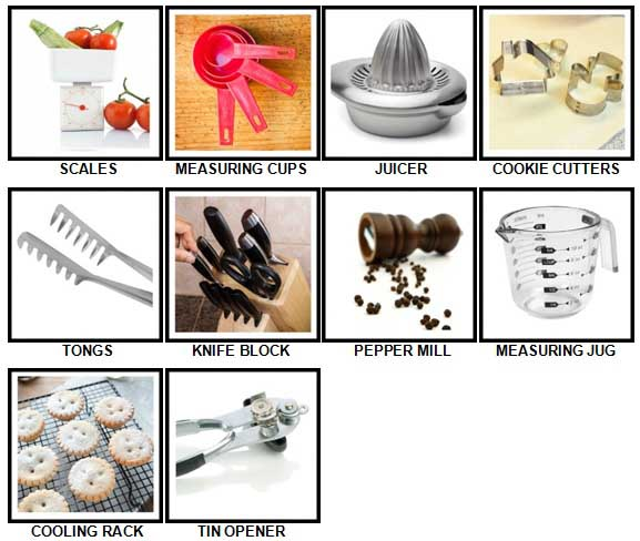 100 Pics Kitchen Utensils Level 11-20 Answers
