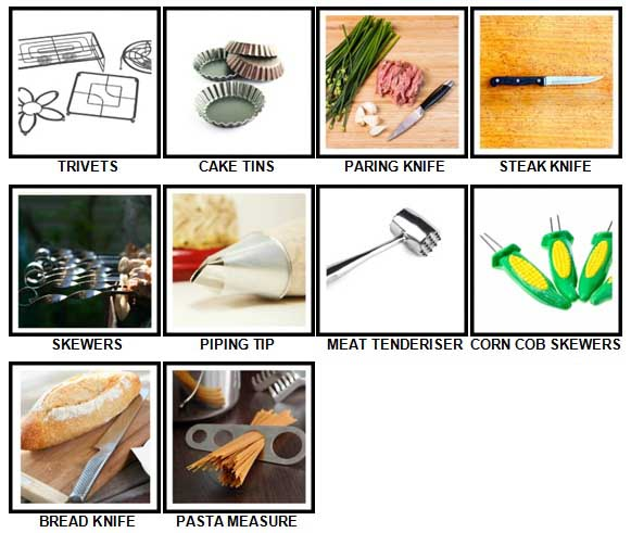 100 Pics Kitchen Utensils Level 41-50 Answers