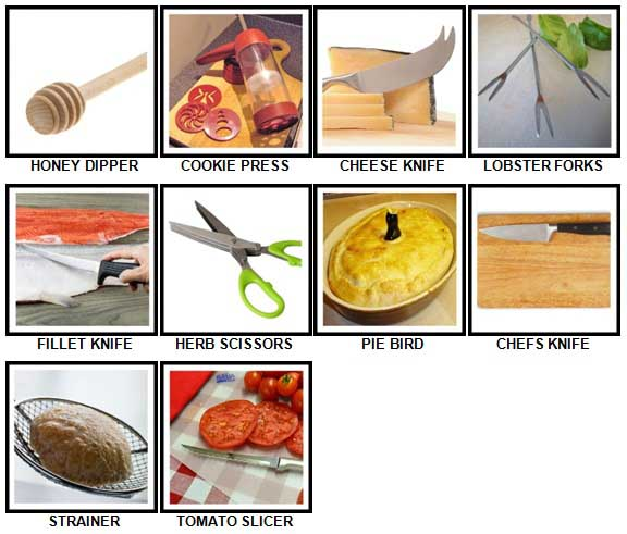 100 Pics Kitchen Utensils Level 61-70 Answers