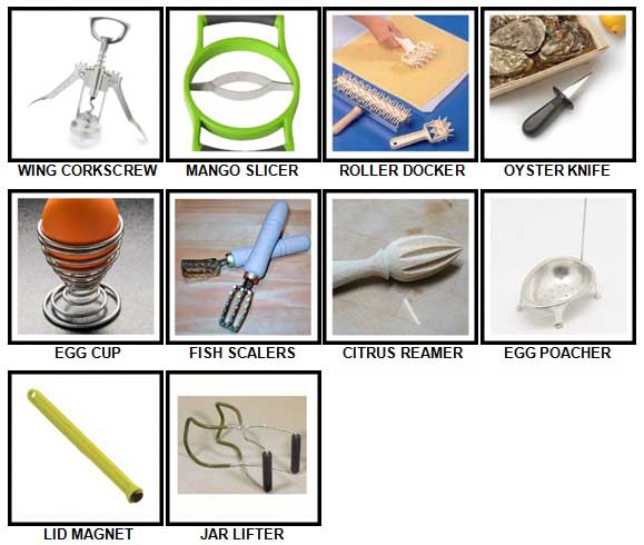 100 Pics Kitchen Utensils Level 81-90 Answers