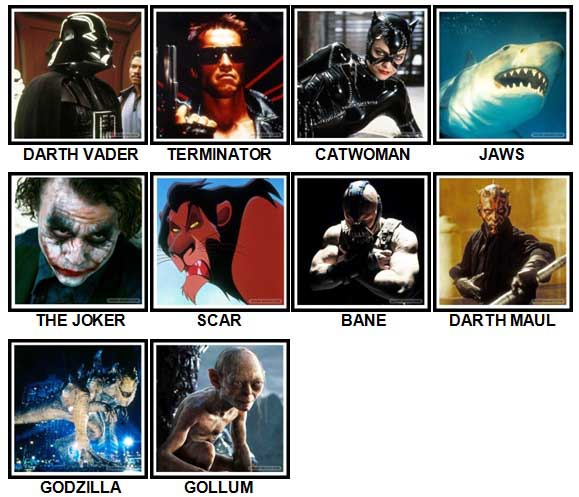 100 Pics Movie Villains Answers All Levels
