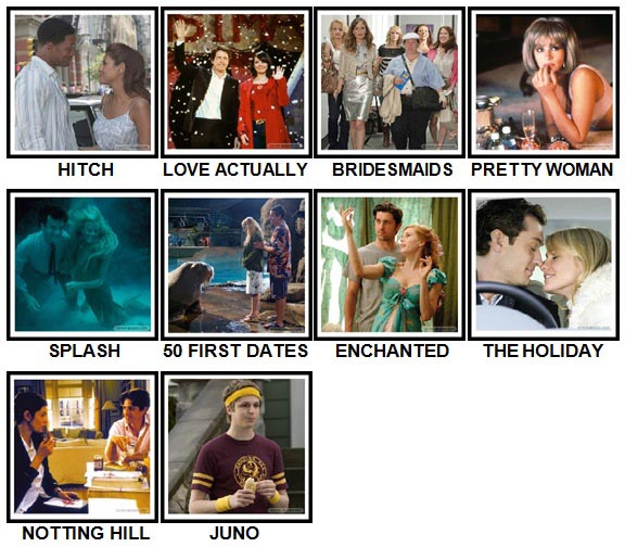 100 Pics Rom-Coms Level 1-10 Answers