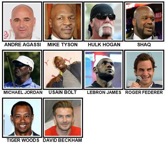 100 Pics Sports Stars Answers Level 1-10