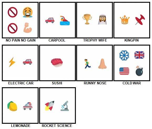 100 Pics Emoji Quiz 4 Level 51-60 Answers