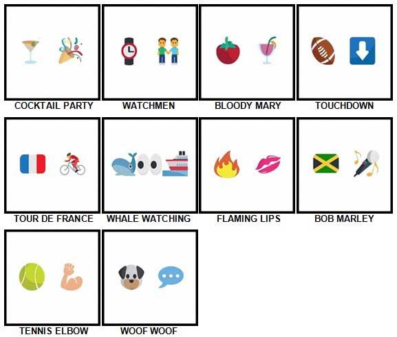 100 Pics Emoji Quiz 4 Answers 61-70