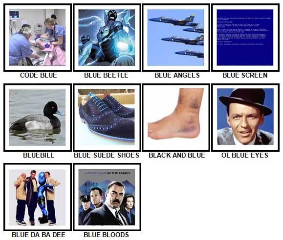 100 Pics Something Blue Level 51-60 Answers