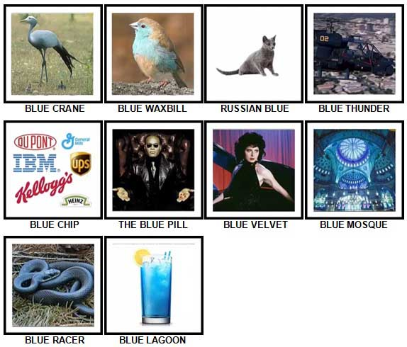 100 Pics Something Blue Level 61-70 Answers