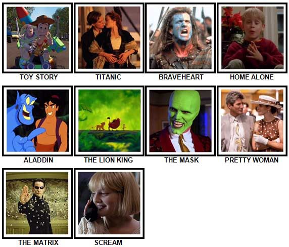 100 Pics 90s Films Answers 1-10