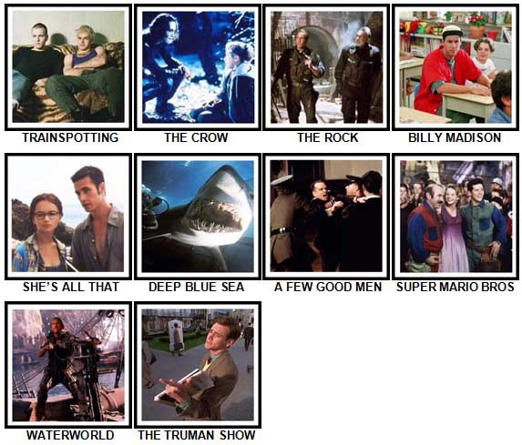 100 Pics 90s Films Level 61-70 Answers