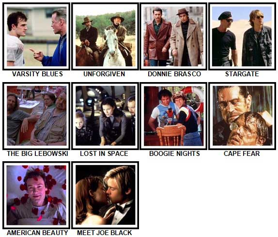 100 Pics 90s Films Level 71-80 Answers