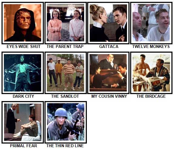 100 Pics 90s Films Level 91-100 Answers