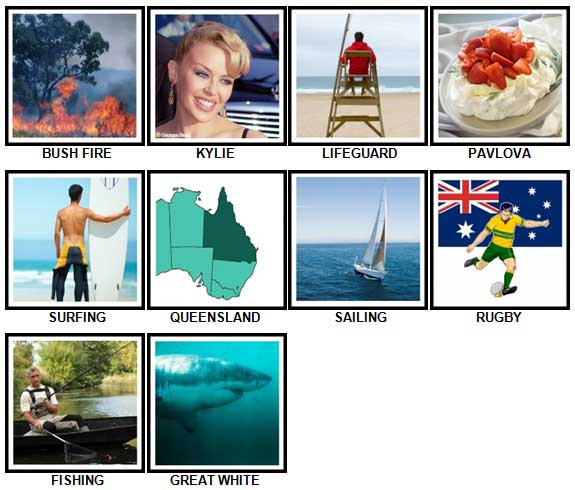 100 Pics I Love Australia Level 11-20 Answers