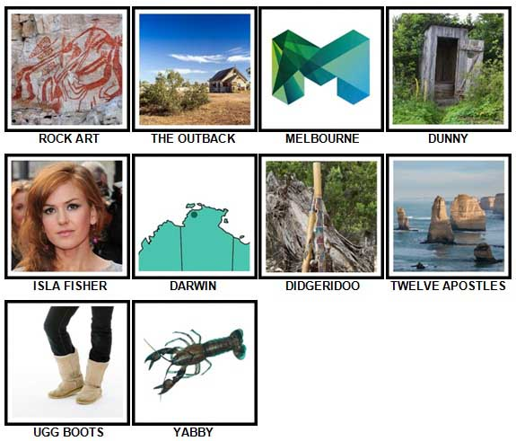 100 Pics I Love Australia Level 31-40 Answers