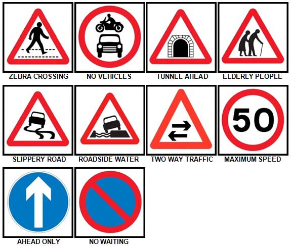 100 Pics Road Signs Level 31-40 Answers
