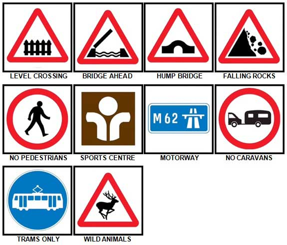 100 Pics Road Signs Level 41-50 Answers