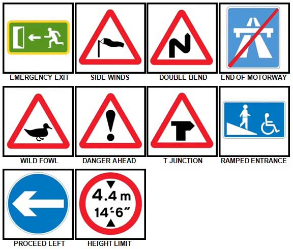 100 Pics Road Signs Level 51-60 Answers