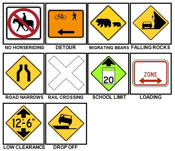 100 Pics Road Signs Level 61-70 Answers