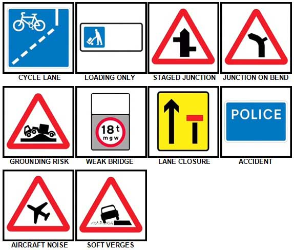 100 Pics Road Signs Level 71-80 Answers