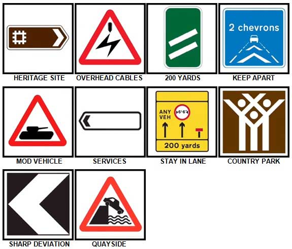100 Pics Road Signs Level 81-90 Answers