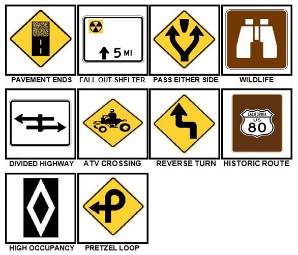 100 Pics Road Signs Level 91-100 Answers