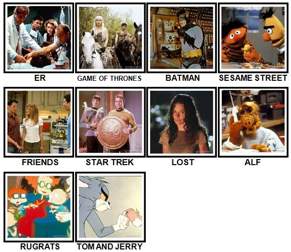 100 Pics TV Shows Level 1-10 Answers