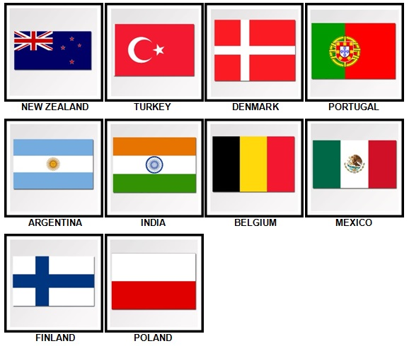 100 Pics Flags Level 21-30 Answers