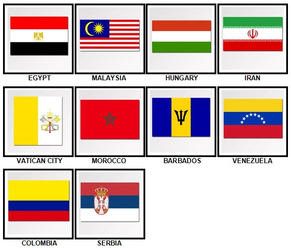 100 Pics Flags Level 61-70 Answers
